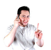 One second please. A man talking on the phone royalty free stock images