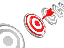 One selected target with three darts, right target Stock Photo
