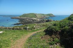 Ile aux Moines in Brittany. One of the sept-iles. France's oldest and largest bird sanctuary found on the Seven Islands archipelago stock images