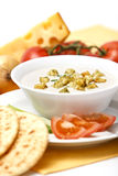 One serving of cheese cream soup Royalty Free Stock Image