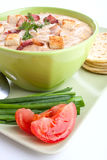 One serving of corn cream soup puree Stock Photos