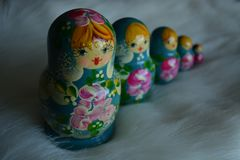 One set of Blue Russian Doll royalty free stock image
