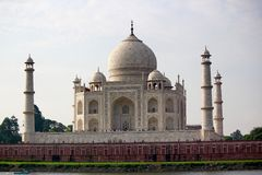 One of the Seven wonders of the world - The Taj Mahal. The Taj Mahal is a white marble mausoleum located on the southern bank of the Yamuna River in the Indian Royalty Free Stock Photography
