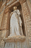 One of the several statues on the front of the celebrated library at Ephesus Stock Images