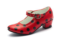 One Sevillian flamenco dancing shoeRed shoe with black dots Stock Images