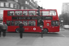 'One Shade Of Red'- London Bus. London Bus advert using '50 shades' parody stock photo