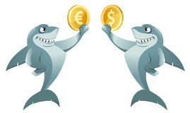 One shark holding dollar symbol and another shark holding euro  Stock Photography