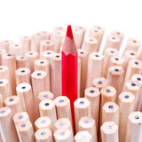 One sharpened red pencil among many ones Royalty Free Stock Image