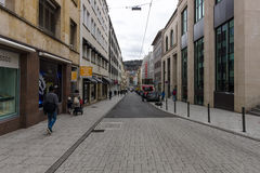 One of the shopping streets in the historical center. Stuttgart. Royalty Free Stock Images