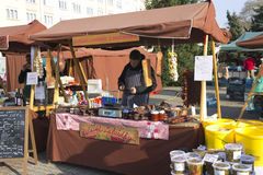 One of the shops at Prague autumn farmers markets Royalty Free Stock Image