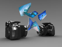 One shot pictures. 3d illustration of two Digital photo camera shotting pictures Royalty Free Stock Photo