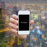 One show warning 'no signal' on smartphone Stock Photos