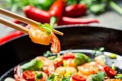 One shrimp  on chopsticks Royalty Free Stock Photos