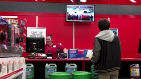 One side of auto service counter stock video footage
