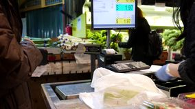 One side of check out counter stock footage