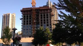 One side of construction high rise building stock footage