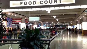 One side of food court view stock footage