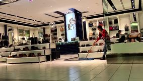 One side of shoes store. Inside shopping mall stock video
