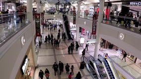 One side of shopping mall stock video