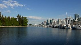 One side view of the Vancouver downtown skyline. And waterfront stock video footage