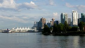 One side view of the Vancouver downtown skyline. And waterfront stock footage