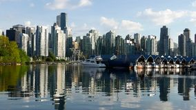 One side view of the Vancouver. Downtown skyline and waterfront stock footage
