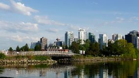 One side view of the Vancouver. Downtown skyline and waterfront stock video footage