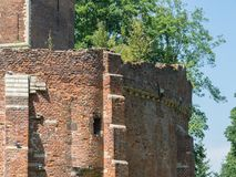 Wall of castle ruin. One of the side walls of a castle ruin in Belgium Stock Images