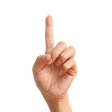 One signal raise up, making by hand. Isolated over white background Royalty Free Stock Image