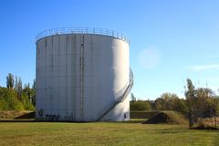 One silo in meadow stock photo