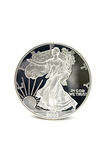 One Silver Dollar. One American Eagle Silver Bullion Coin (legal tender stock photo