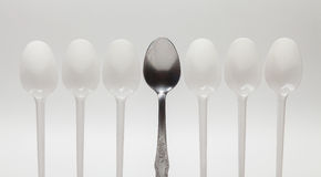 One silver spoon Royalty Free Stock Photography