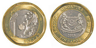 One singaporean dollar coin Royalty Free Stock Photo