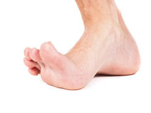 One single malefoot stepping towards white Stock Photo