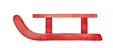 Watercolor illustration of red wooden sled. royalty free illustration
