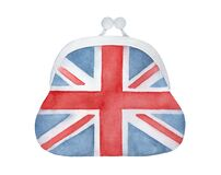 Water color illustration of elegant Coin Purse with red and blue Union Jack flag pattern.