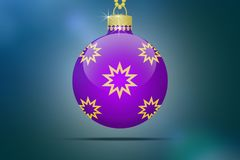 One single purple hanging christmas tree ball with golden stars ornaments Stock Images
