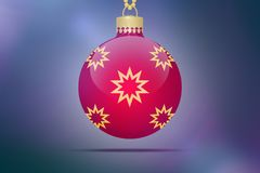 One single red hanging christmas tree ball with yellow and golden stars ornaments on a blue pink bokeh background with lens flare. Xmas illustration Royalty Free Stock Photos