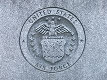 US Air Force Carved Logo at the Memorial to South Carolina Veterans of the United States Armed Forces. One of six stone carvings of the United States Air Force stock photo