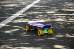 One skateboard on the road stock image