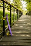 One skateboard on the road royalty free stock photography