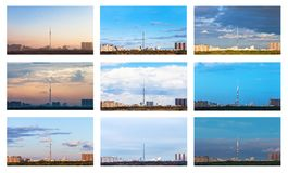 The one skyline in various seasons royalty free stock photography