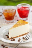 One slice of banana cheesecake Stock Images
