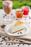 One slice of banana cheesecake Stock Photos