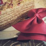 One slice of birthday cake. One slice of birthday honey cake with red bow tie on a white plate Stock Photography