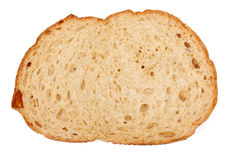 One slice of brown bread. On white background Stock Photography