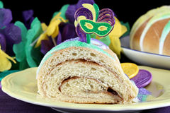 One slice of Kings Cake in macro Royalty Free Stock Image