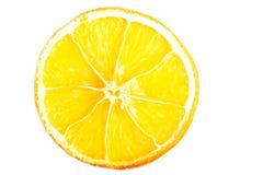 One slice of orange, close up. Isolated on white Stock Images