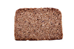 One slice of rye bread, isolated on white Royalty Free Stock Image