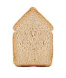 One slice of wheat bread in house symbol isolated on white Stock Image